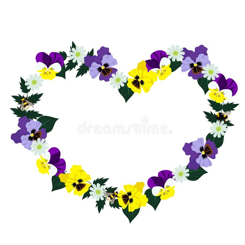 Heart frame made of pansies. Isolated on white background. Vector graphics vector illustration