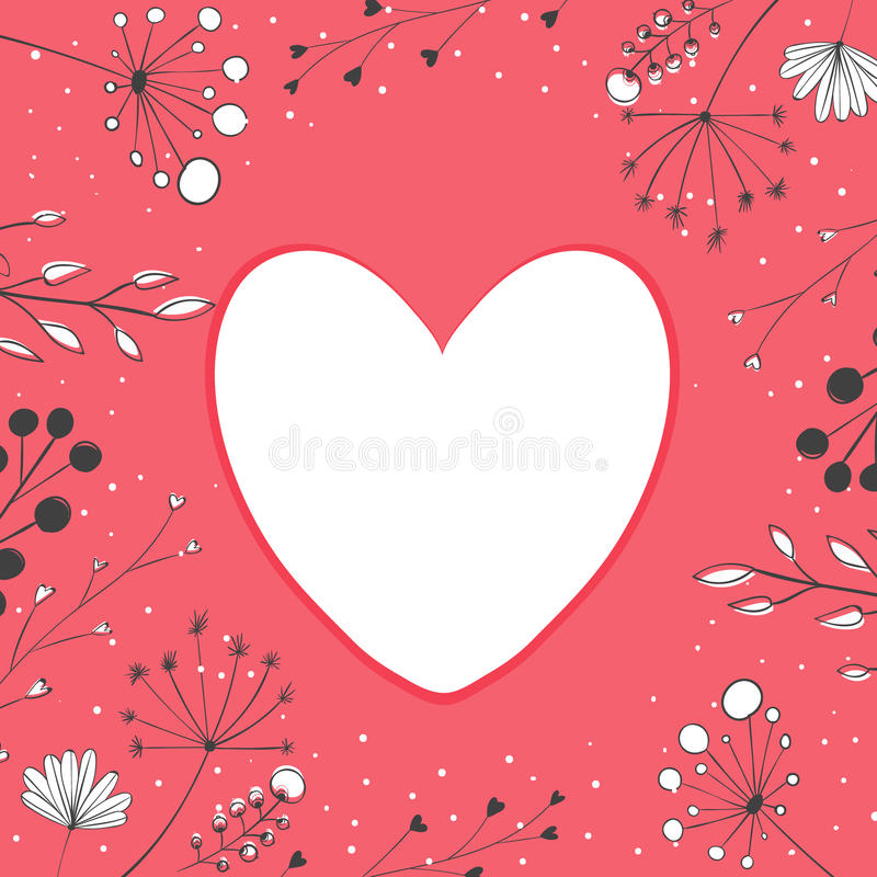 Heart frame at pastel pink background with nature royalty free illustration