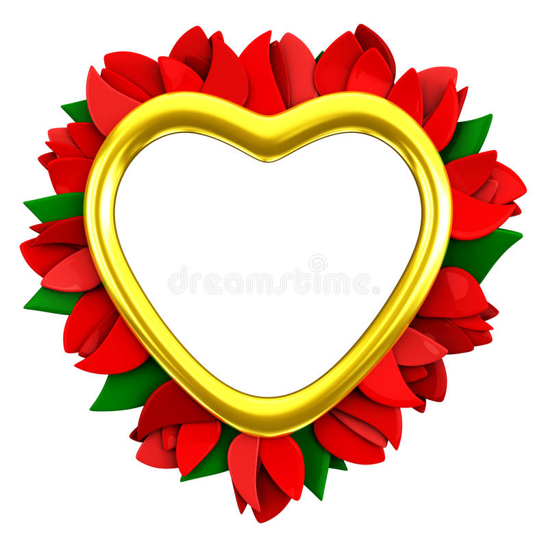 Heart frame with red flowers, 3d stock photography