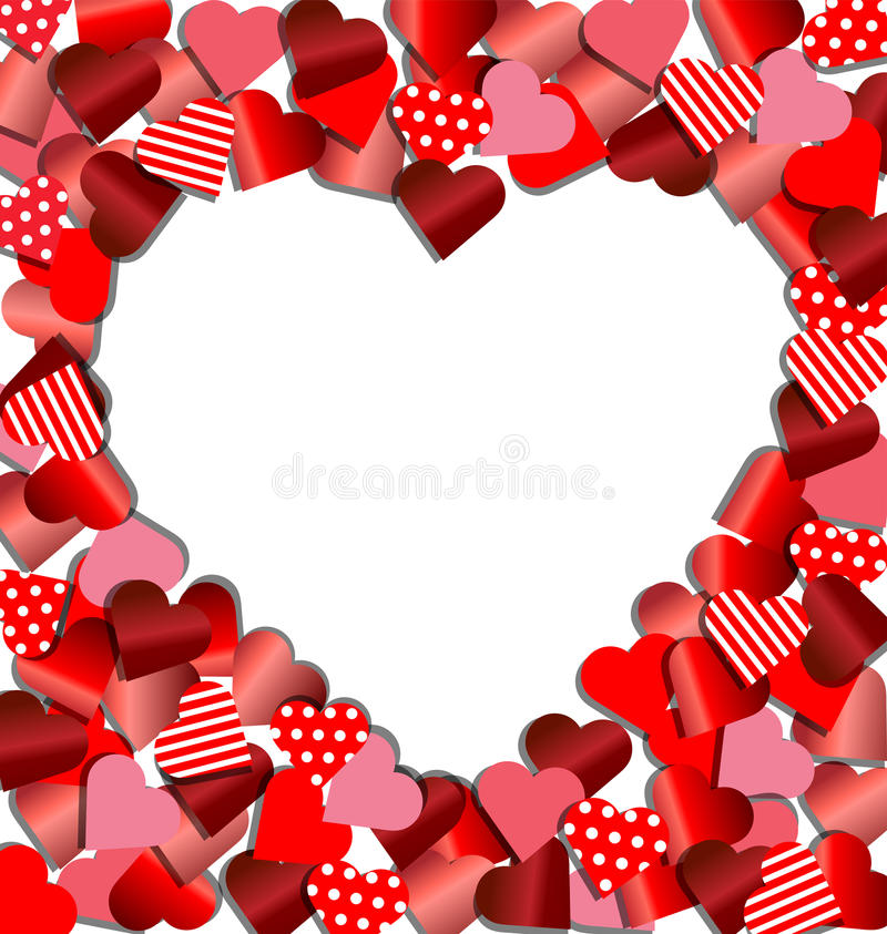 Heart Frame From Red Paper For Valentine Card Stock Vector ...