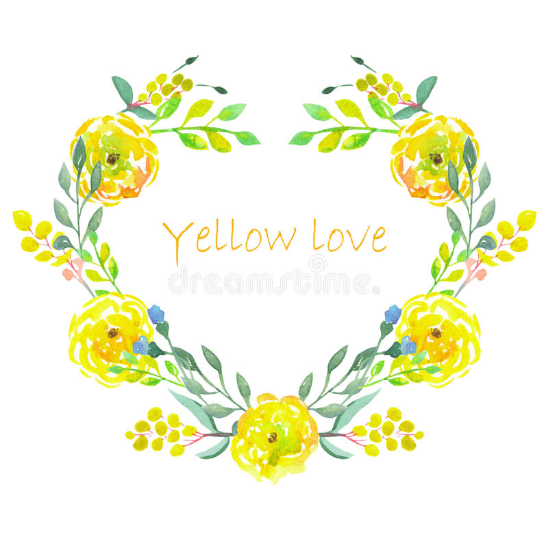 Heart frame of watercolor yellow flowers vector illustration