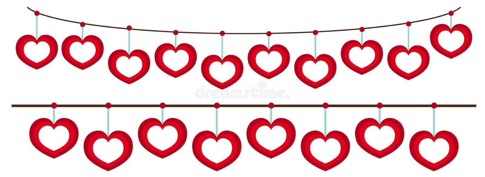 Heart Frames Hanging On String Stock Vector - Illustration of ...