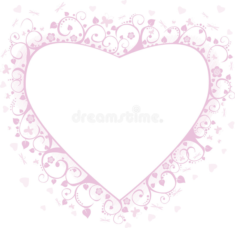 Heart framework. Pink framework with butterflies, hearts and flowers, a decorative pattern stock illustration