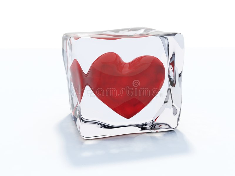 Heart frozen in ice royalty free stock photos
