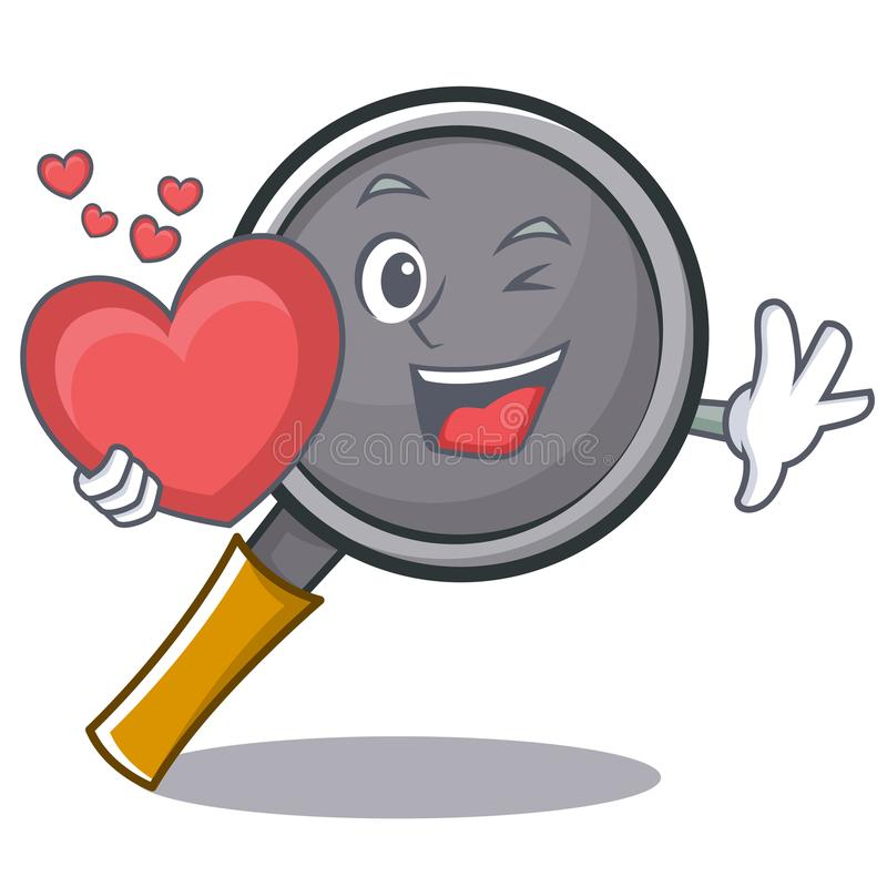 With heart frying pan cartoon character. Vector illustration vector illustration