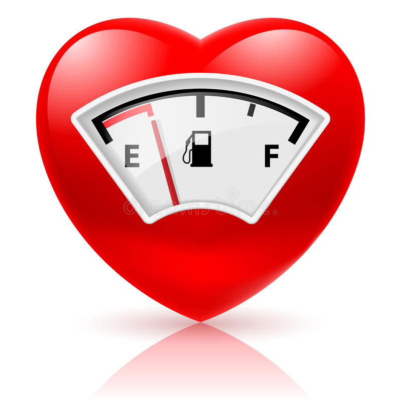 Heart with fuel indicator stock illustration