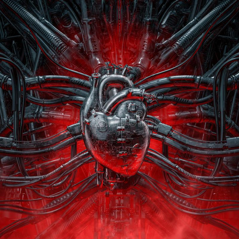 Heart of the gamer. 3D illustration of grungy metallic artificial robot heart connected to alien machinery vector illustration