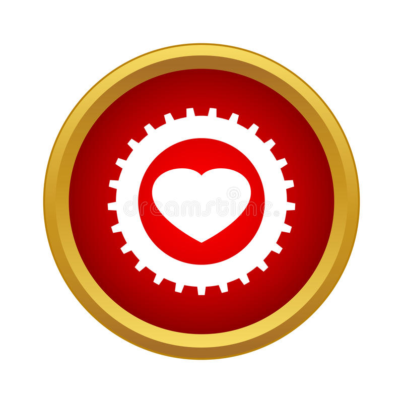 Heart In A Gear Icon , Simple Style Stock Illustration