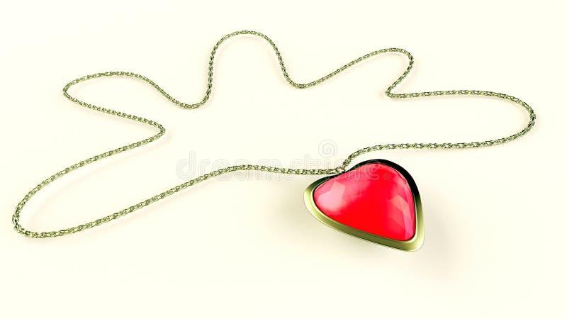 Heart gemstone necklace vector illustration
