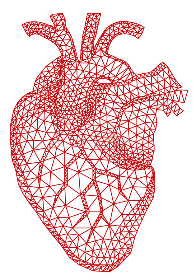 Heart with geometric pattern, vector. Abstract red human heart with geometric mesh pattern, vector illustration stock illustration