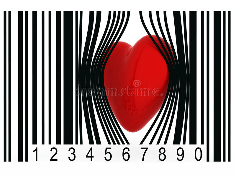 Heart that gets out from a bar code royalty free illustration