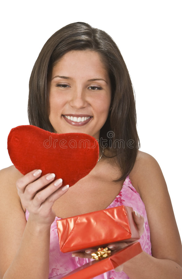 Download Heart gift stock image. Image of fond, brunette, beautiful - 7641867