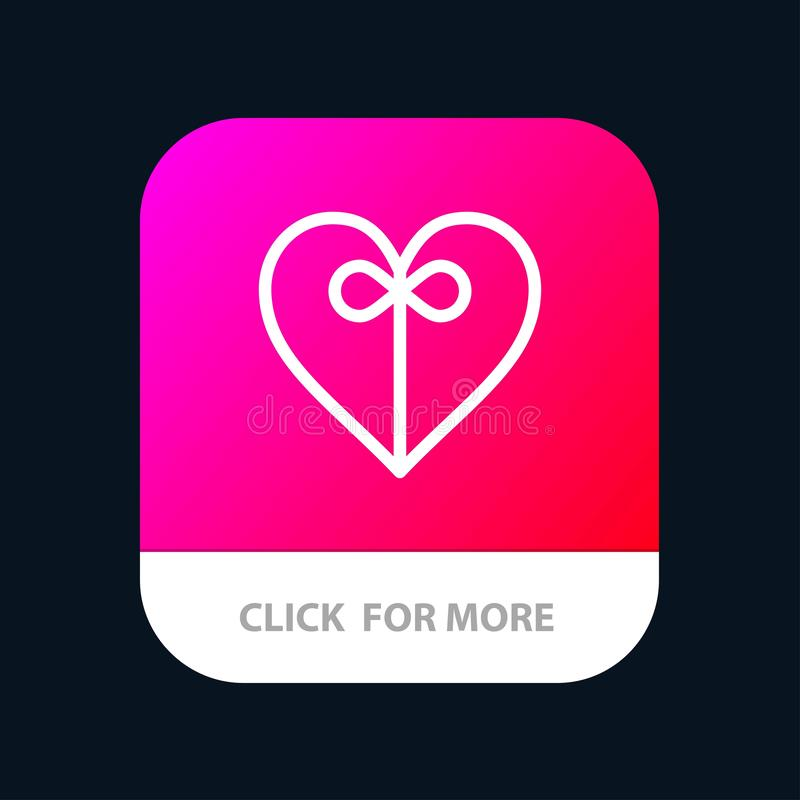 Heart, Gift, Ribbon Mobile App Button. Android and IOS Line Version vector illustration