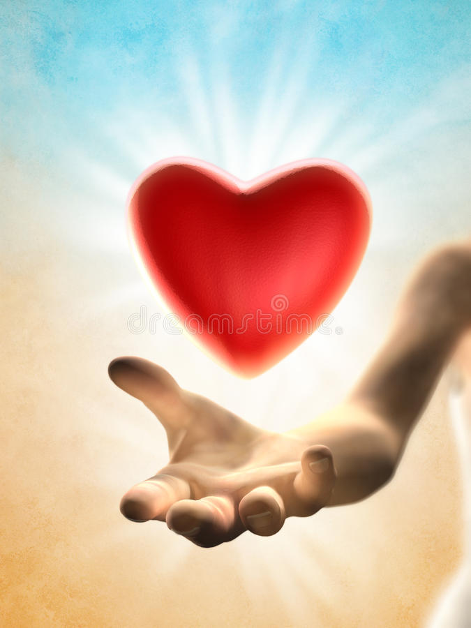 Heart giving stock illustration