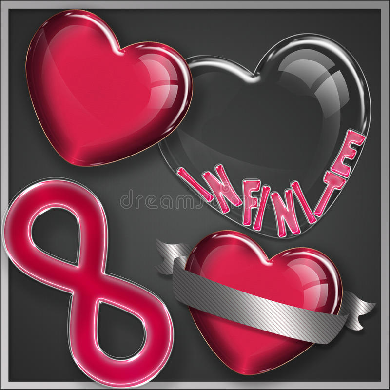 Heart glass collection vector illustration