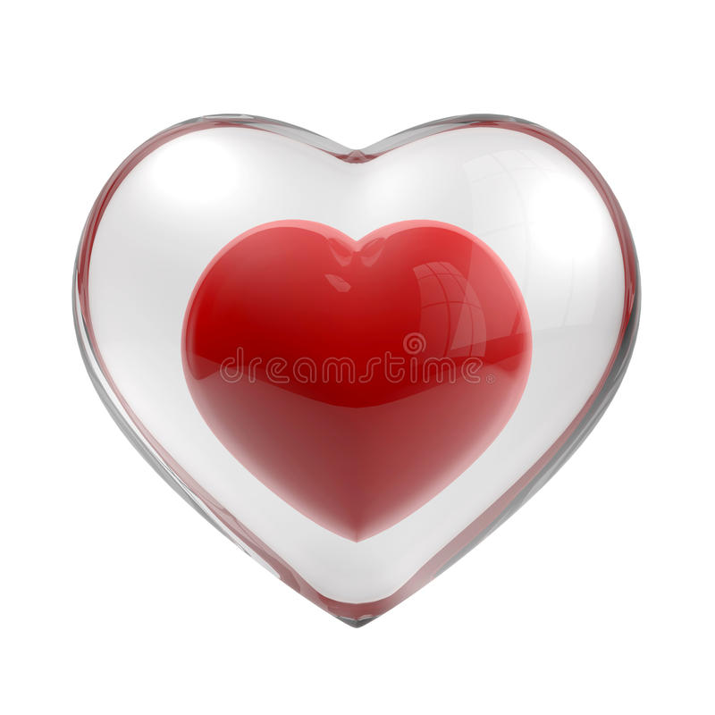 Heart glass. Red heart isolaed on white background vector illustration