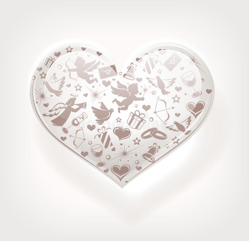 Heart of glass with set of icons stock photos