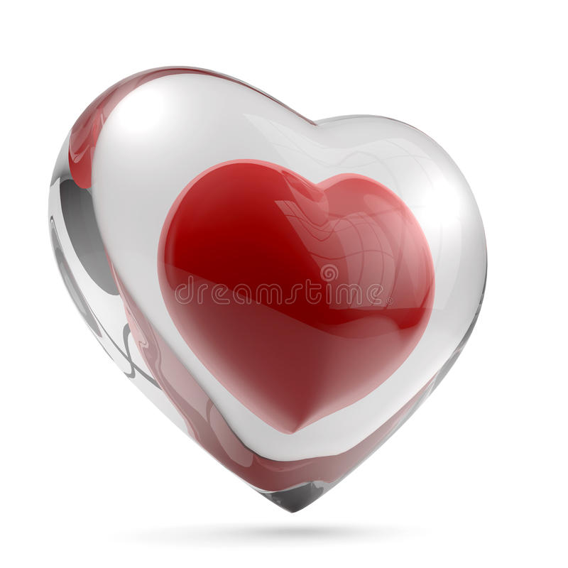 Heart glass shell. Red heart isolaed on white background royalty free illustration