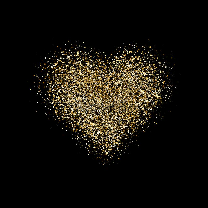 Heart with glitter confetti on black background. Gold sparkles heart. Magic star dust. Glow luxury golden background stock illustration
