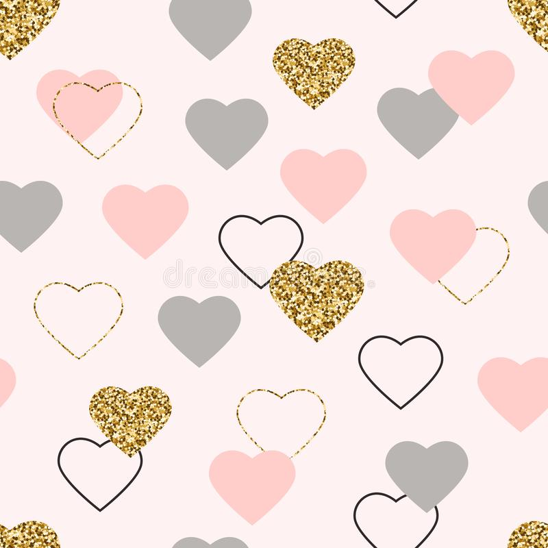 Heart glitter seamless pattern. Valentines Day background with glittering gold, pink, grey hearts. Golden hearts with sparkles and stock illustration