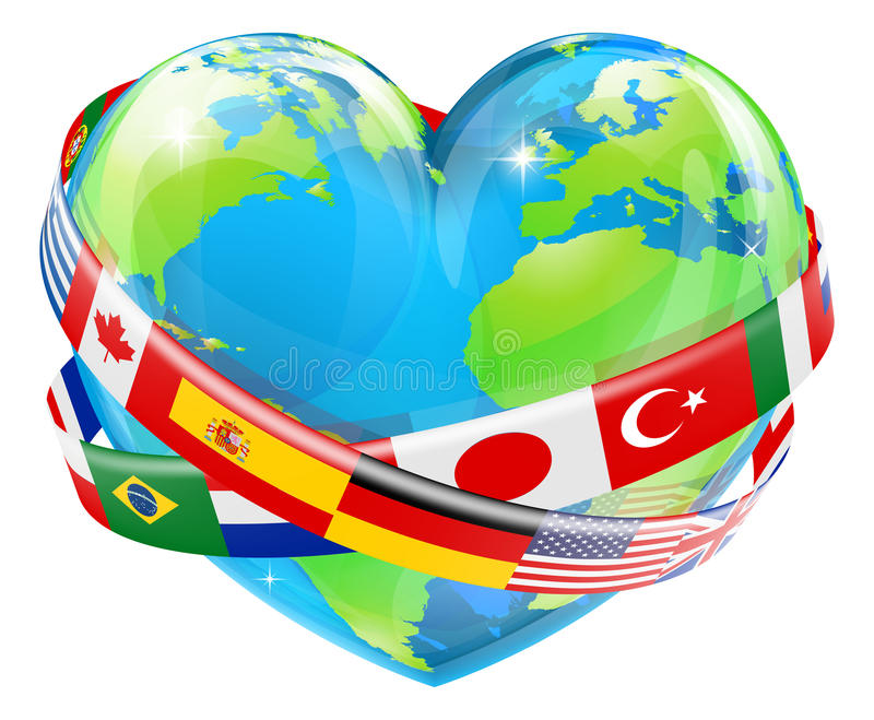 Heart globe with flags. An illustration of a heart shaped world earth globe with the flags of many different countries flying around it