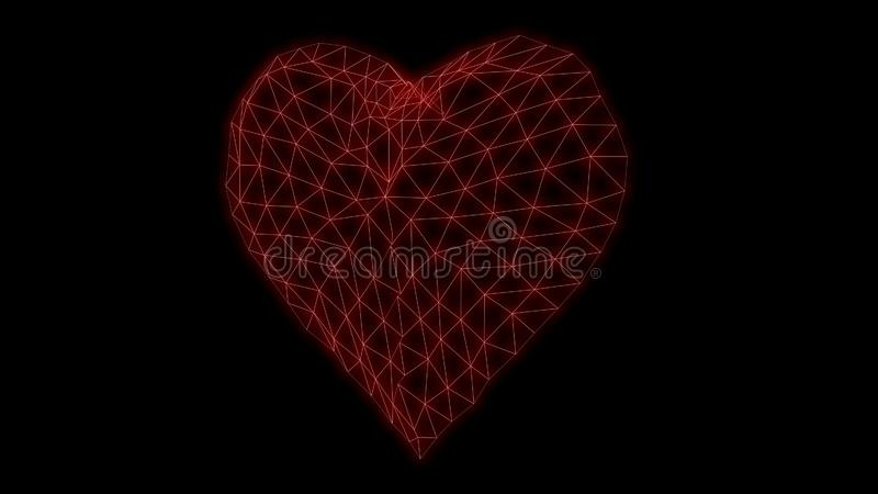 Heart Glowing neon Synthwave glitch 3d render royalty free stock image