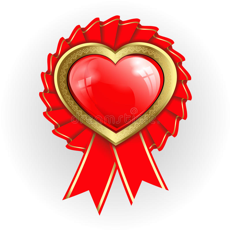 Heart with gold border and ribbons stock illustration