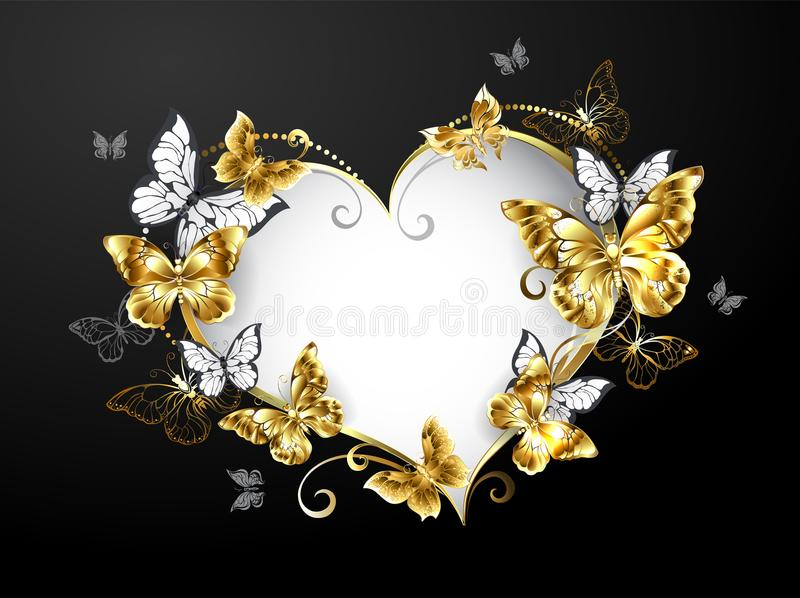 Heart with gold butterflies on gray background. Banner in shape of heart, decorated with gold and white butterflies on black background stock illustration