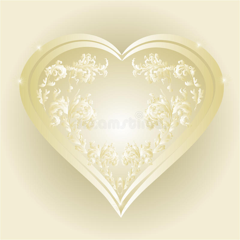 Heart of gold and silver ornaments vector royalty free illustration