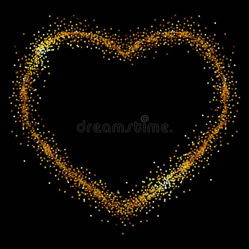 Heart of gold spangles on a black background stock illustration