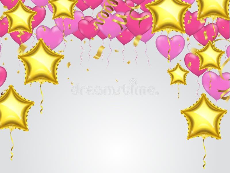 Heart Gold star balloon on background royalty free illustration