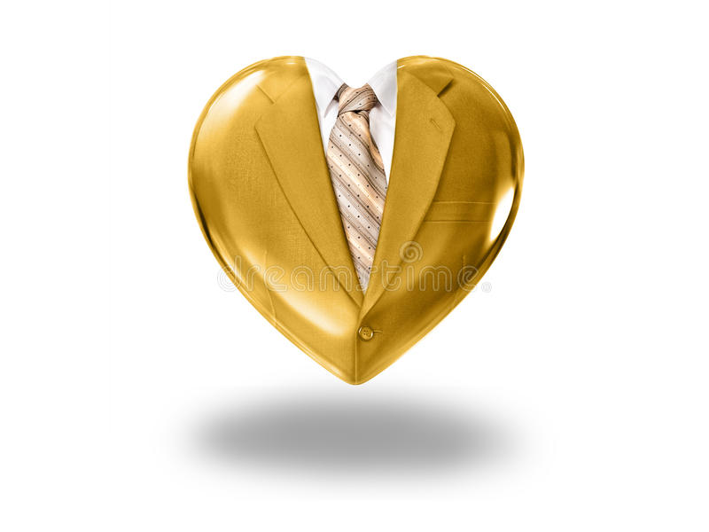 Heart with gold suit and tie. Concept of business love royalty free stock photos