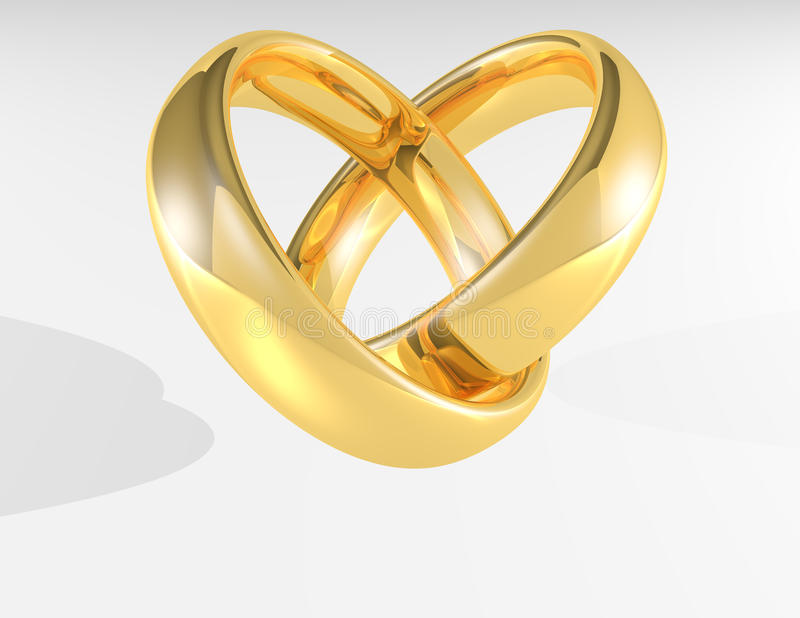 Heart Gold wedding rings royalty free illustration