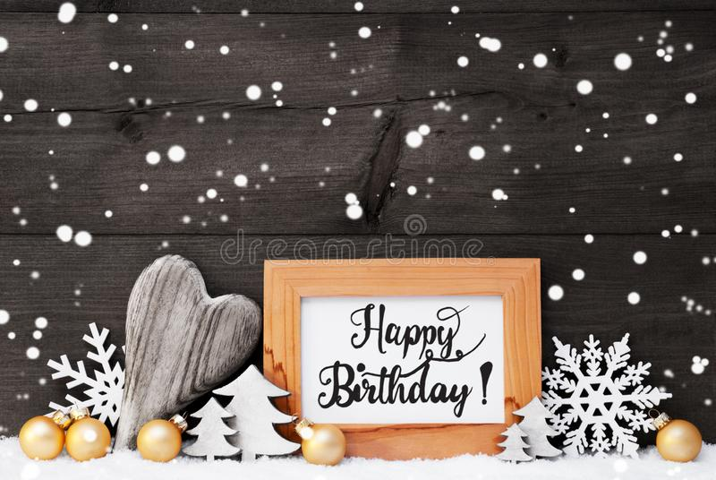 Heart, Golden Ball, Tree, Calligraphy Happy Birthday, Gray Background stock photo