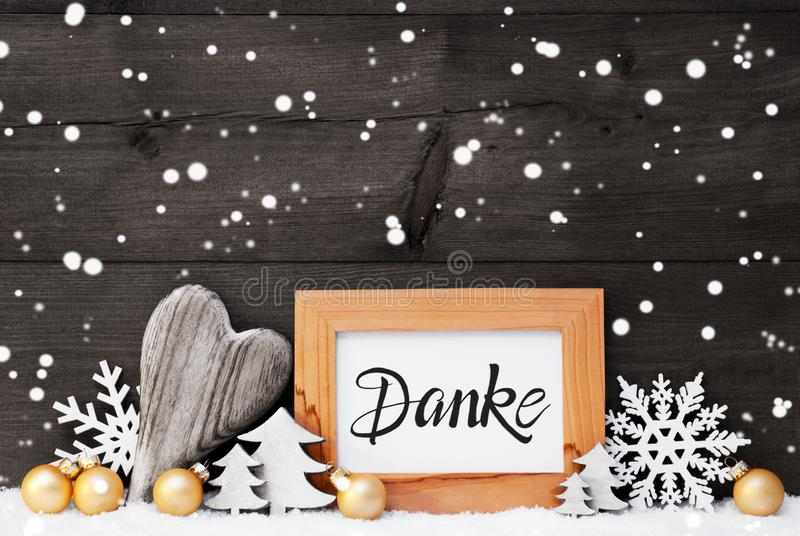 Heart, Golden Ball, Tree, Danke Means Thank You, Gray Background stock photos