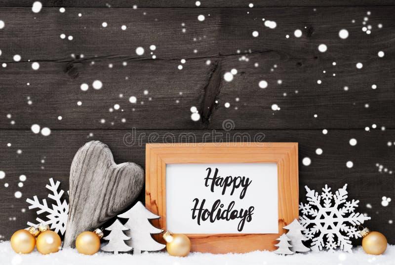 Heart, Golden Ball, Tree, Happy Holidays, Gray Background royalty free stock photo