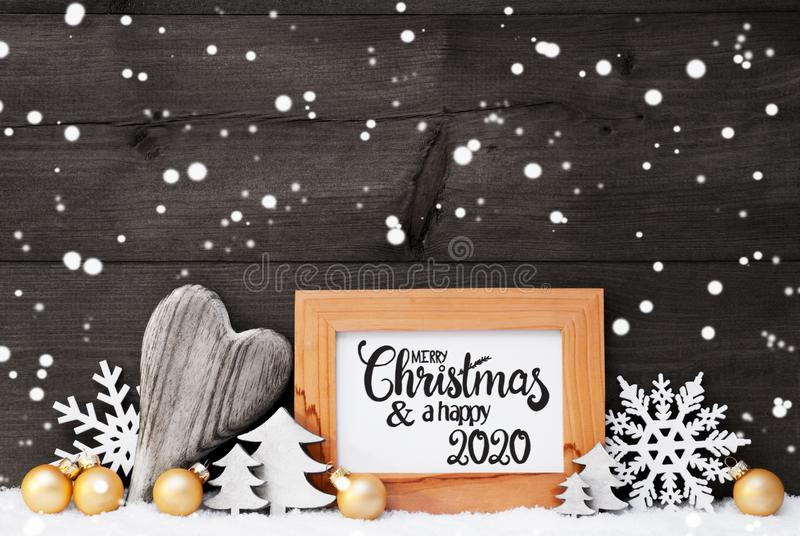 Heart, Golden Ball, Tree, Merry Christmas And Happy 2020, Gray Background stock image