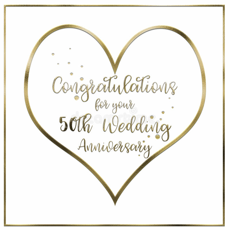 Heart Golden Wedding Anniversary Card royalty free stock image