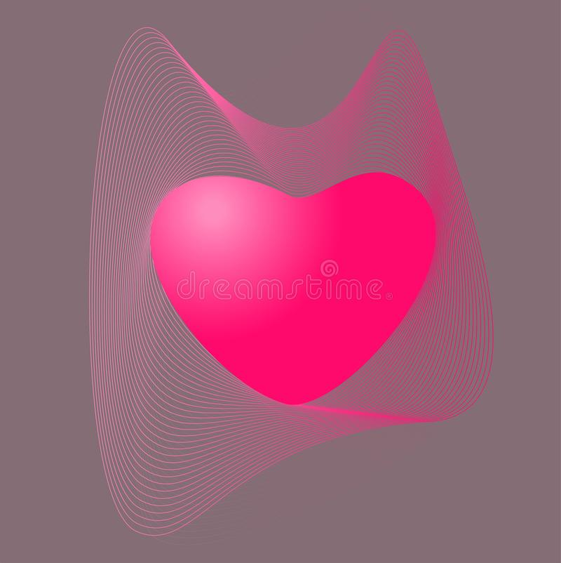 Heart gradient linear waves.Pink color of heart with gradient linear waves. Haert and gradient linear waves.Pink color of heart with gradient linear waves.vector vector illustration
