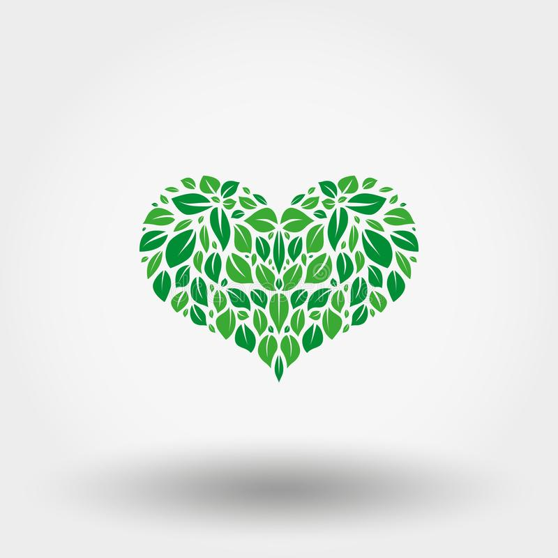 Heart of green leaves. Icon. Vector. Flat. stock illustration