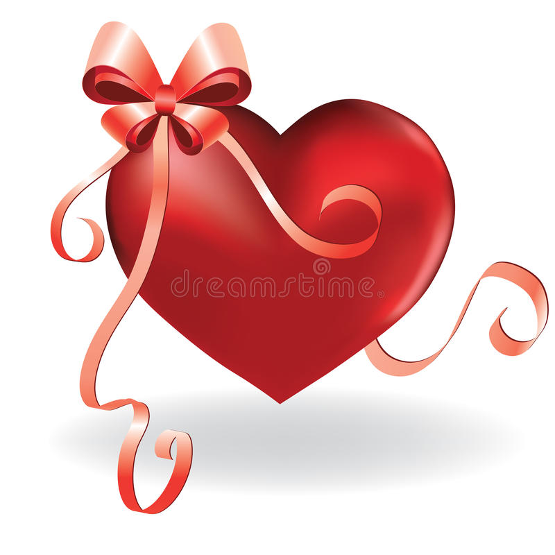Download Heart Greeting Card Template With Ribbon And Bow Stock Vector - Image: 22016241