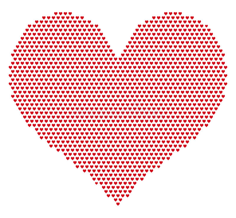 Heart grid pattern. Red heart with heart grid pattern, vector background royalty free illustration