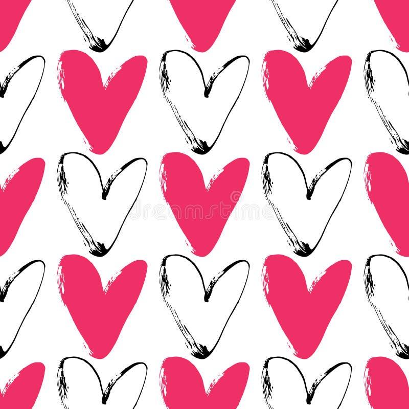 Heart grunge seamless pattern on white background. Hand drawn royalty free illustration