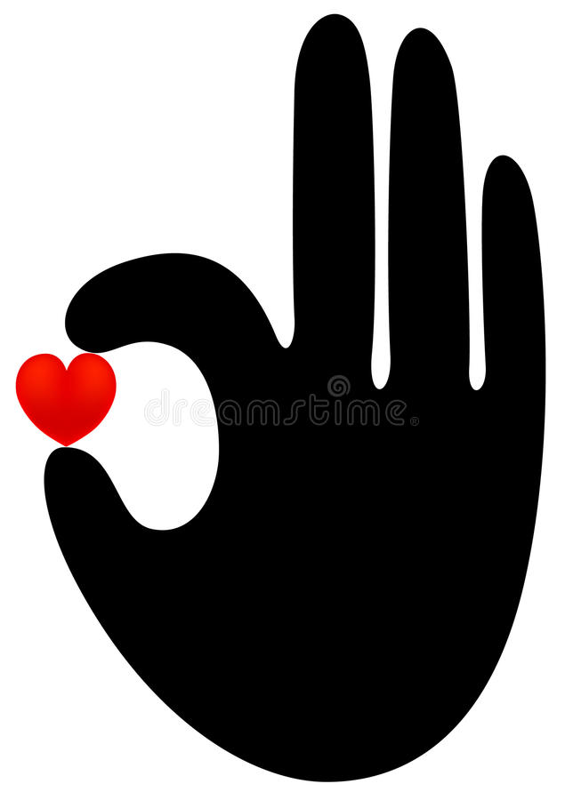 Heart and hand. The big black hand holds small red heart stock illustration