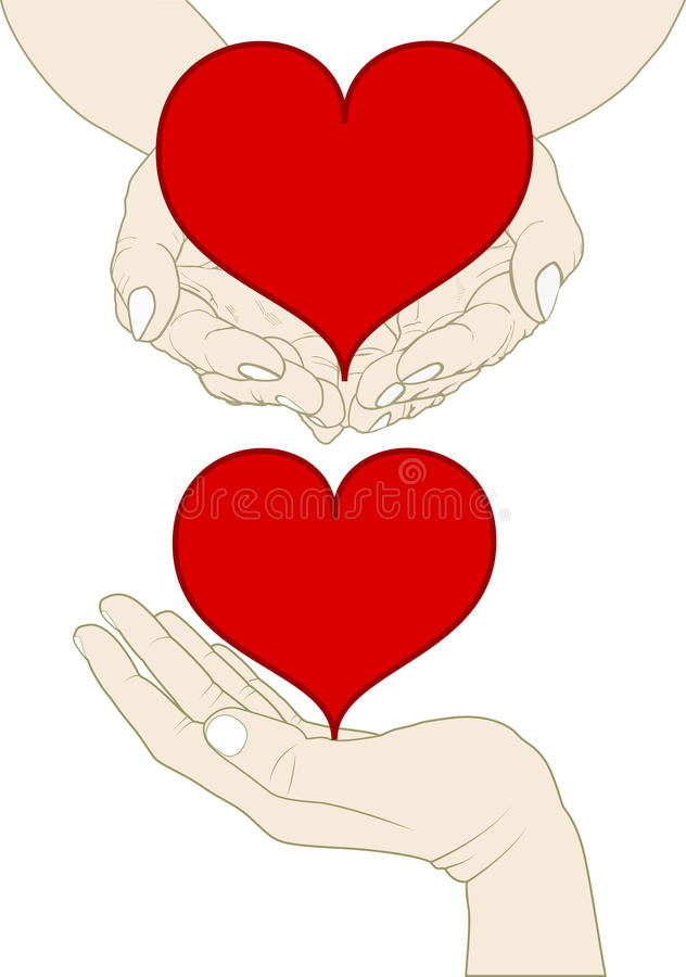 Download Heart on hand stock vector. Illustration of hand, handful - 26543810
