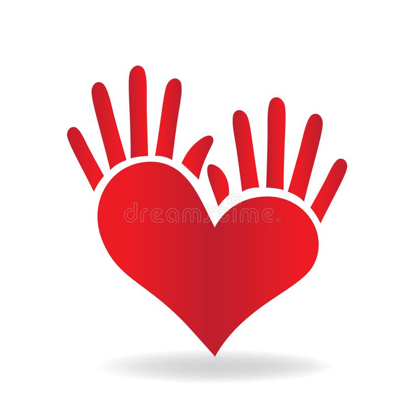 Heart and hand concept of helping and charity for sick people icon logo vector. Hands heart shape icon concept of helping and charity for sick people logo vector stock illustration