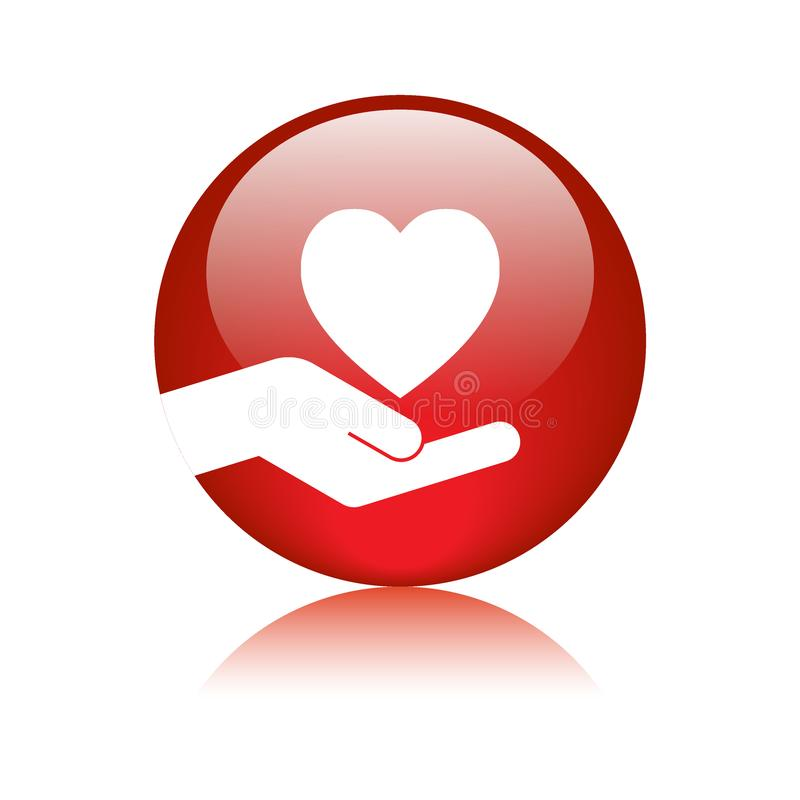Heart in hand icon button. Vector illustration on isolated white background with reflection stock illustration