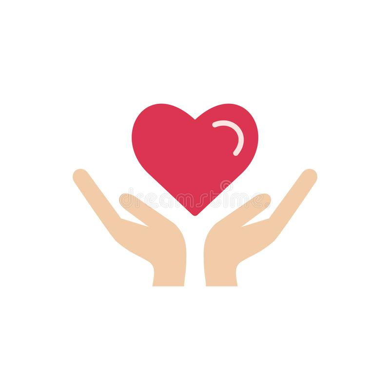 Heart in hand icon vector. stock illustration