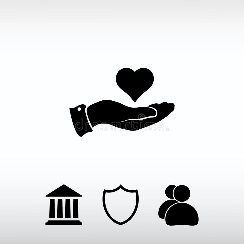 Heart in hand icon, vector illustration. Flat design style royalty free stock image