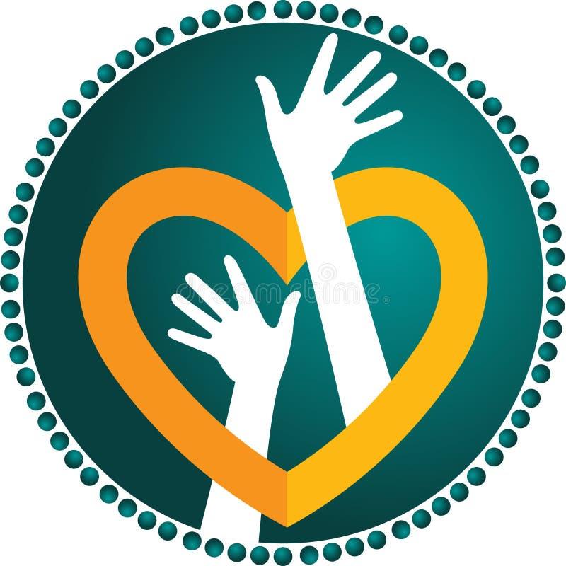 Heart hand logo royalty free illustration